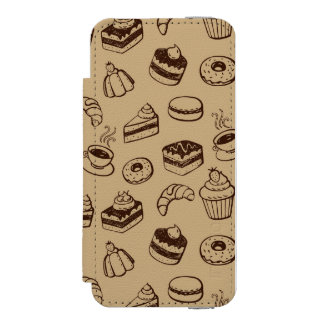 Pattern With Cakes, Desserts And Bakery iPhone SE/5/5s Wallet Case