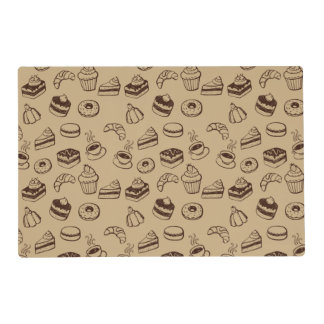 Pattern With Cakes, Desserts And Bakery Laminated Place Mat