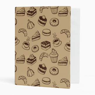 Pattern With Cakes, Desserts And Bakery Mini Binder