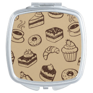 Pattern With Cakes, Desserts And Bakery Mirror For Makeup