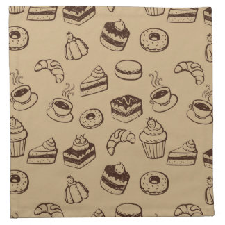 Pattern With Cakes, Desserts And Bakery Napkins