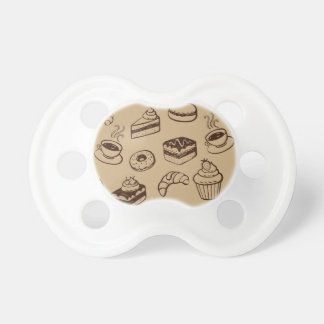 Pattern With Cakes, Desserts And Bakery Pacifier