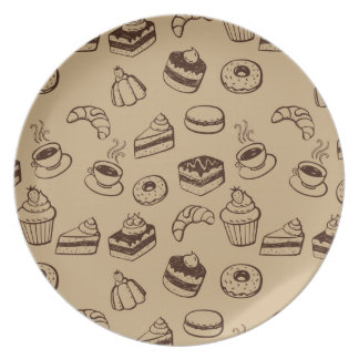 Pattern With Cakes, Desserts And Bakery Party Plate