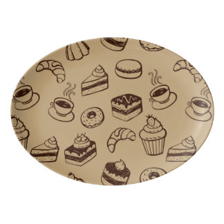 Pattern With Cakes, Desserts And Bakery Porcelain Serving Platter