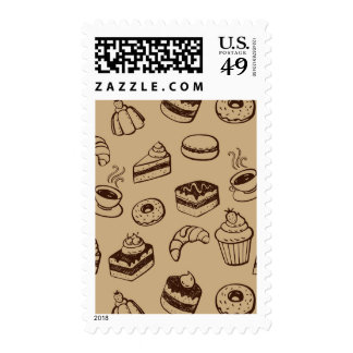 Pattern With Cakes, Desserts And Bakery Stamps