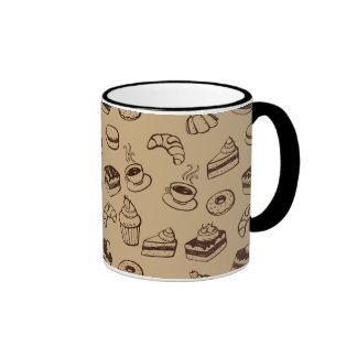Pattern With Cakes, Desserts And Bakery Ringer Mug