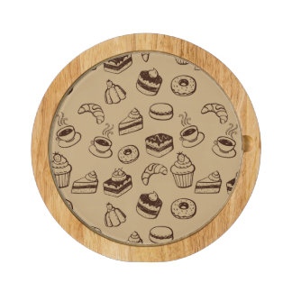Pattern With Cakes, Desserts And Bakery Round Cheese Board