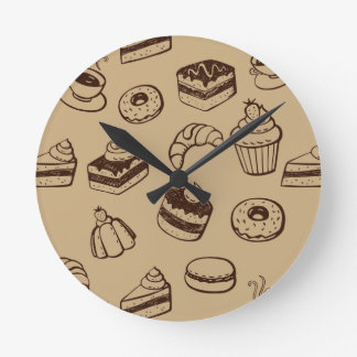Pattern With Cakes, Desserts And Bakery Round Clock