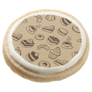 Pattern With Cakes, Desserts And Bakery Round Premium Shortbread Cookie