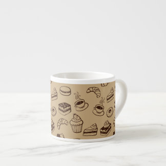 Pattern With Cakes, Desserts And Bakery Espresso Cups