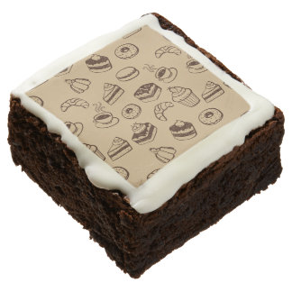 Pattern With Cakes, Desserts And Bakery Square Brownie