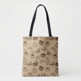 Pattern With Cakes, Desserts And Bakery Tote Bag
