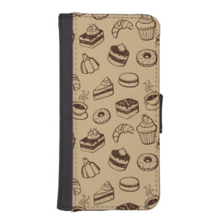 Pattern With Cakes, Desserts And Bakery Wallet Phone Case For iPhone SE/5/5s
