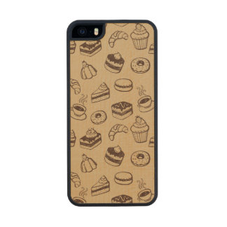 Pattern With Cakes, Desserts And Bakery Wood iPhone SE/5/5s Case