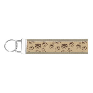 Pattern With Cakes, Desserts And Bakery Wrist Keychain
