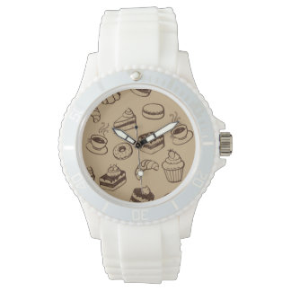 Pattern With Cakes, Desserts And Bakery Wrist Watches