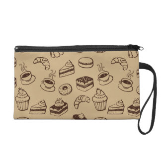 Pattern With Cakes, Desserts And Bakery Wristlet