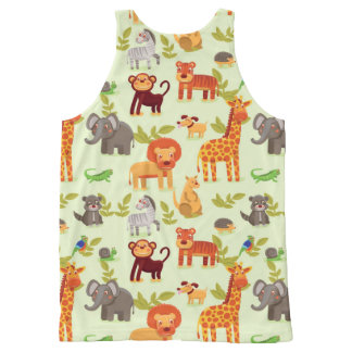 Pattern With Cartoon Animals All-Over-Print Tank Top