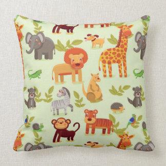 Pattern With Cartoon Animals Throw Pillow