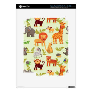 Pattern With Cartoon Animals Skins For iPad 3