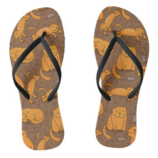Pattern With Cats Flip Flops