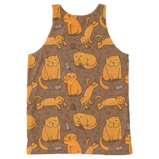 Pattern With Cats All-Over Print Tank Top