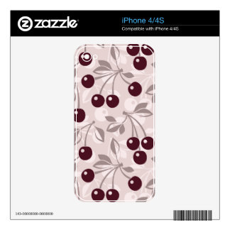 Pattern with Cherries 2 Decals For iPhone 4