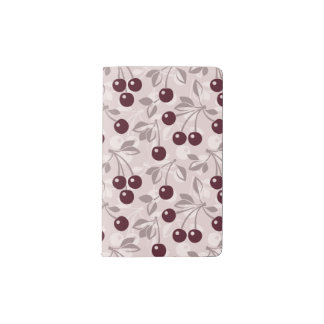 Pattern with Cherries 2 Pocket Moleskine Notebook