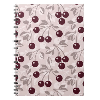 Pattern with Cherries 2 Spiral Notebook