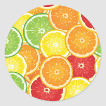 Pattern with citrus fruits classic round sticker