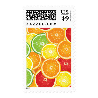 Pattern with citrus fruits postage stamp