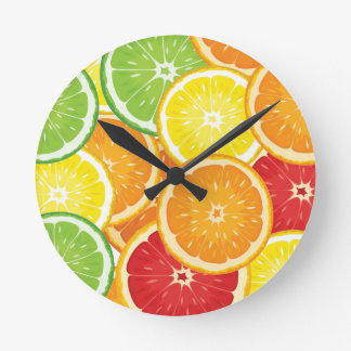 Pattern with citrus fruits round clock