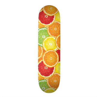 Pattern with citrus fruits skateboard deck