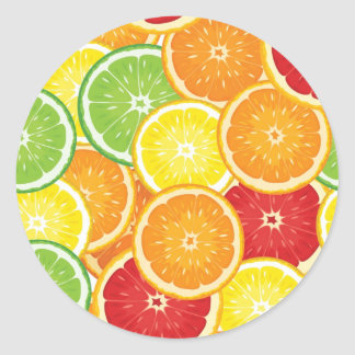 Pattern with citrus fruits round stickers