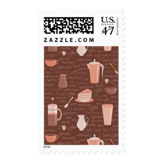 Pattern with coffee related elements postage