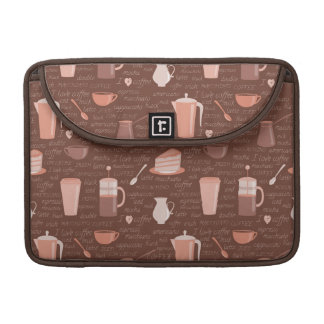 Pattern with coffee related elements sleeve for MacBooks
