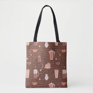 Pattern with coffee related elements tote bag
