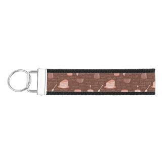 Pattern with coffee related elements wrist keychain