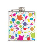 Pattern With Colored Kitchen Stuff Hip Flasks