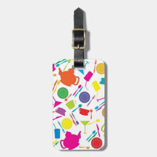 Pattern With Colored Kitchen Stuff Luggage Tag