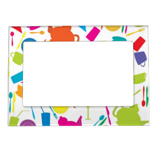 Pattern With Colored Kitchen Stuff Magnetic Photo Frame