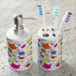 Pattern With Colored Kitchen Stuff Toothbrush Holder