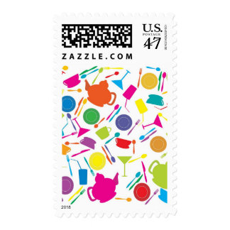 Pattern With Colored Kitchen Stuff Postage