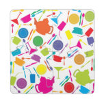 Pattern With Colored Kitchen Stuff Puzzle Coaster
