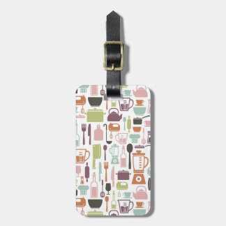 Pattern with colorful cooking icons bag tag