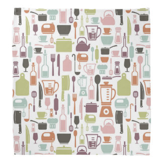 Pattern with colorful cooking icons bandana