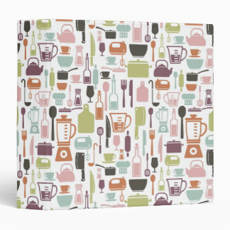 Pattern with colorful cooking icons binder