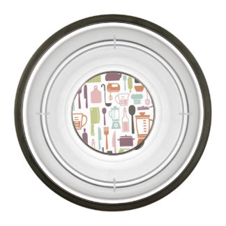 Pattern with colorful cooking icons bowl