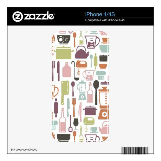 Pattern with colorful cooking icons decal for iPhone 4
