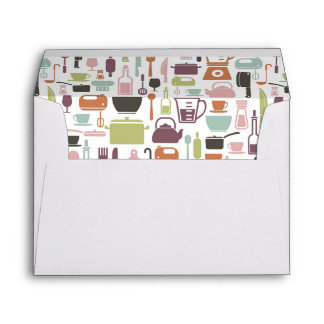 Pattern with colorful cooking icons envelope